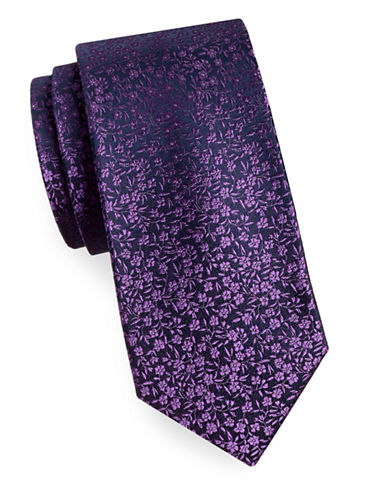 Arrow Silk Floral Tie-PURPLE-One Size