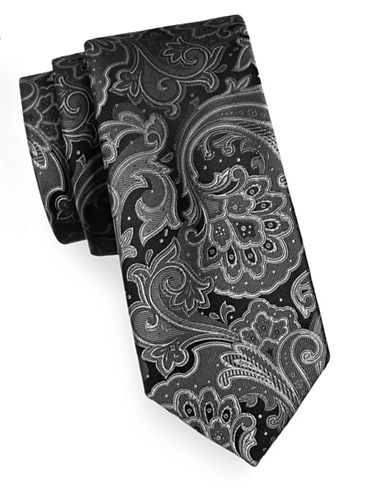 Michael Michael Kors Silk Foulard Tie-BLACK-One Size