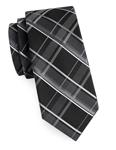 Michael Michael Kors Silk Plaid Tie-BLACK-One Size