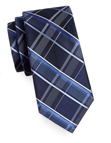 Michael Michael Kors Silk Plaid Tie-NAVY-One Size