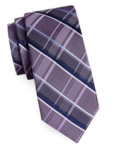 Michael Michael Kors Silk Plaid Tie-PURPLE-One Size