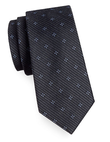 Michael Michael Kors Silk-Blend Two Print Tie-CHARCOAL-One Size