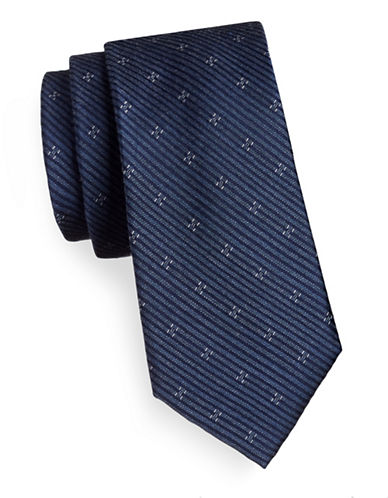 Michael Michael Kors Silk-Blend Two Print Tie-NAVY-One Size