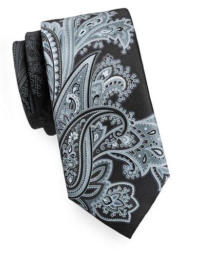 Geoffrey Beene Paisley Mix Silk Tie-BLACK-One Size