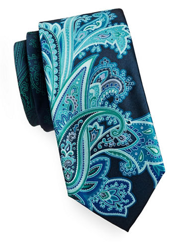 Geoffrey Beene Paisley Mix Silk Tie-TEAL-One Size