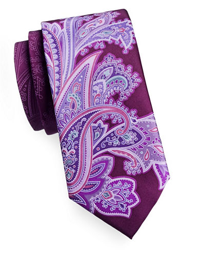 Geoffrey Beene Paisley Mix Silk Tie-PURPLE-One Size