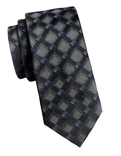 Geoffrey Beene Squares Tie-GREY-One Size