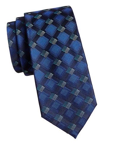 Geoffrey Beene Squares Tie-NAVY-One Size