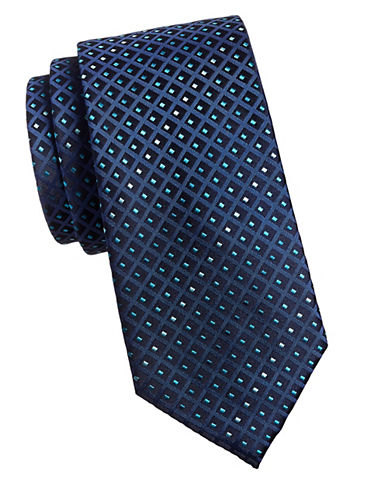 Geoffrey Beene Embroidered Tie-NAVY-One Size