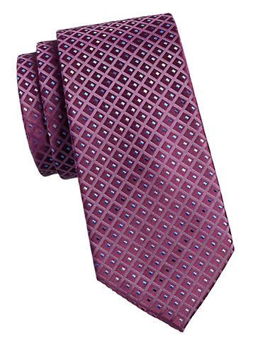 Geoffrey Beene Embroidered Tie-RED-One Size