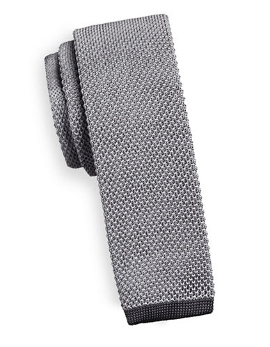 Geoffrey Beene Silk-Blend Knitted Tie-SILVER-One Size