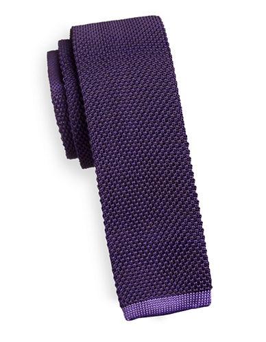 Geoffrey Beene Silk-Blend Knitted Tie-PURPLE-One Size