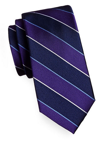 Tommy Hilfiger Silk-Blend Stripe Tie-PURPLE-One Size