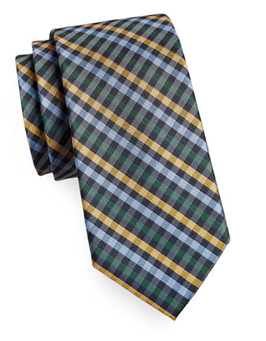 Tommy Hilfiger Silk Plaid Tie-YELLOW-One Size