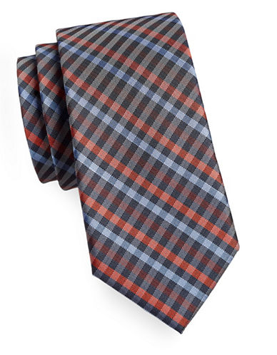Tommy Hilfiger Silk Plaid Tie-ORANGE-One Size