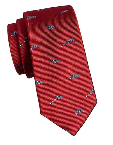Tommy Hilfiger Airplane Silk Tie-RED-One Size
