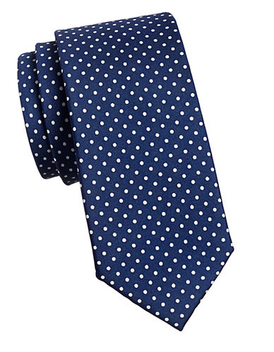 Tommy Hilfiger Silk Dot Tie-NAVY-One Size