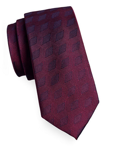 Calvin Klein Diamond Jacquard Silk Tie-BURGUNDY-One Size