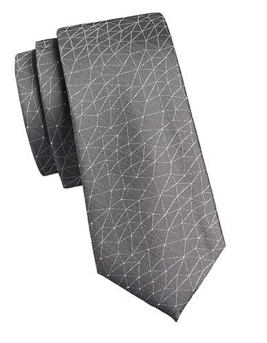Calvin Klein Geometric Silk Tie-GREY-One Size
