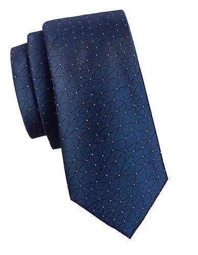 Calvin Klein Geometric Silk Tie-NAVY-One Size