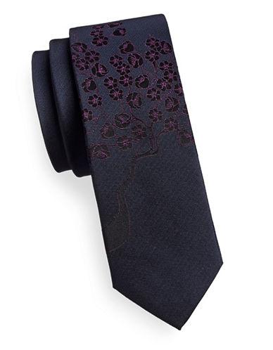 Calvin Klein Floral Slim Tie-BURGUNDY-One Size