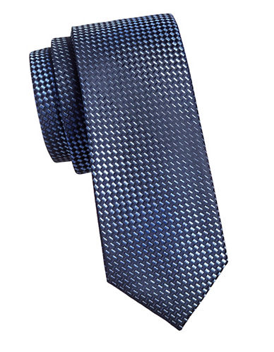 Kenneth Cole Reaction Embroidered Silk Tie-NAVY-One Size