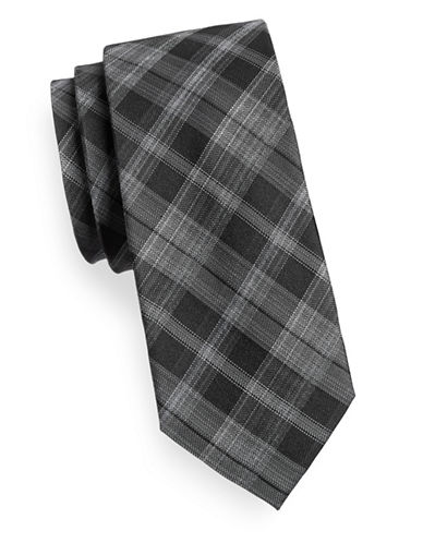 Kenneth Cole Reaction Tonal Silk Blend Plaid Tie-BLACK-One Size