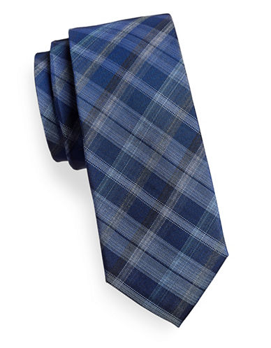 Kenneth Cole Reaction Tonal Silk Blend Plaid Tie-NAVY-One Size