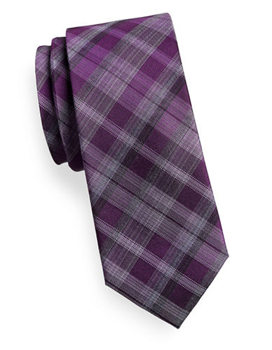 Kenneth Cole Reaction Tonal Silk Blend Plaid Tie-RED-One Size
