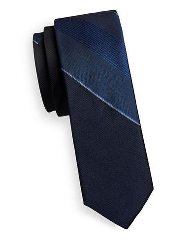Kenneth Cole Reaction Silk-Blend Stripe Tie-NAVY-One Size