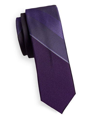 Kenneth Cole Reaction Silk-Blend Stripe Tie-PURPLE-One Size