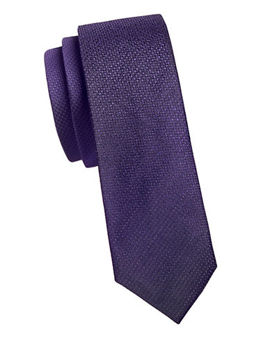 Kenneth Cole Reaction Textured Slim Silk Tie-PURPLE-One Size