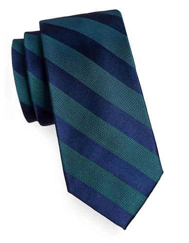 Arrow Grid Stripe Silk Tie-BLUE-One Size