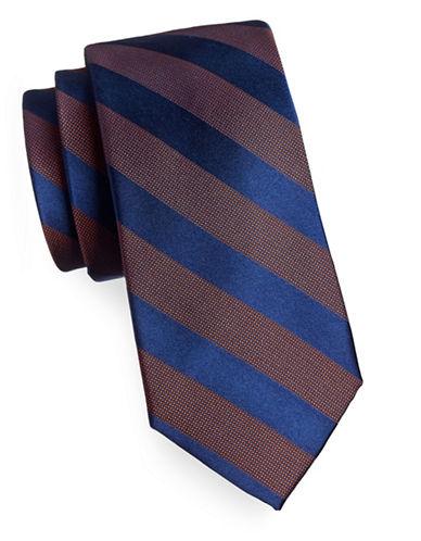 Arrow Grid Stripe Silk Tie-ORANGE-One Size