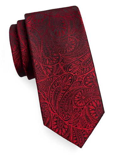 Arrow Premium Paisley Silk Tie-RED-One Size