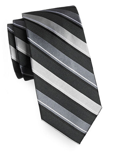 Arrow Premium Striped Silk Tie-BLACK-One Size