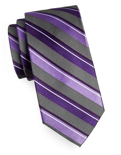 Arrow Premium Striped Silk Tie-PURPLE-One Size