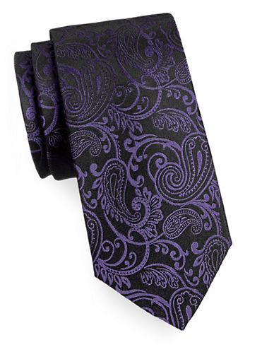 Arrow Premium Paisley Silk Tie-PURPLE-One Size