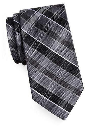 Arrow Premium Plaid Silk Tie-BLACK-One Size