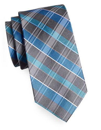 Arrow Premium Plaid Silk Tie-BLUE-One Size