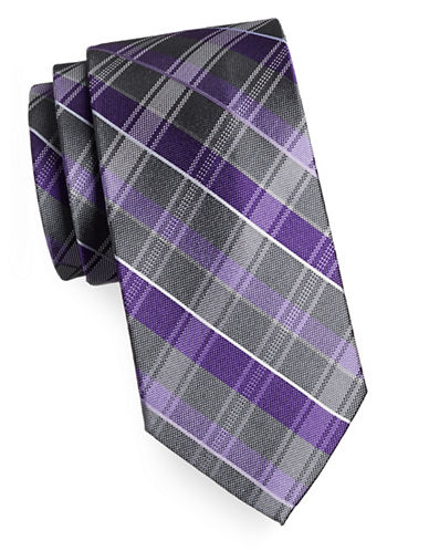 Arrow Premium Plaid Silk Tie-PURPLE-One Size