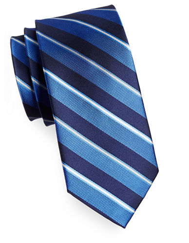 Izod Diagonal Stripe Silk Tie-BLUE-One Size