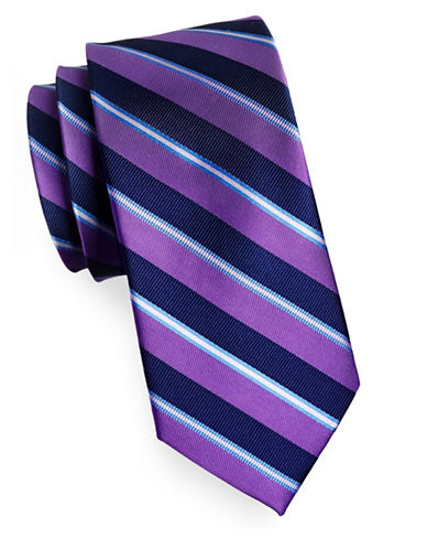 Izod Diagonal Stripe Silk Tie-PURPLE-One Size