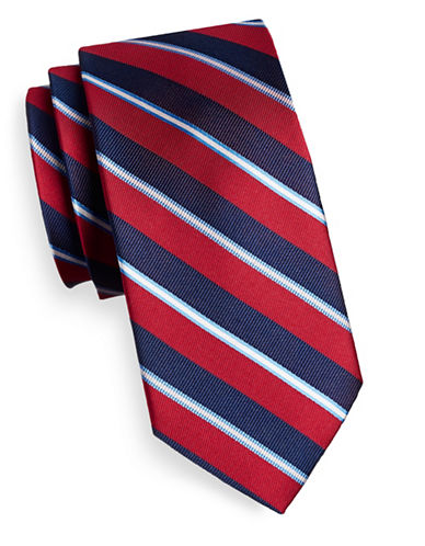 Izod Diagonal Stripe Silk Tie-RED-One Size