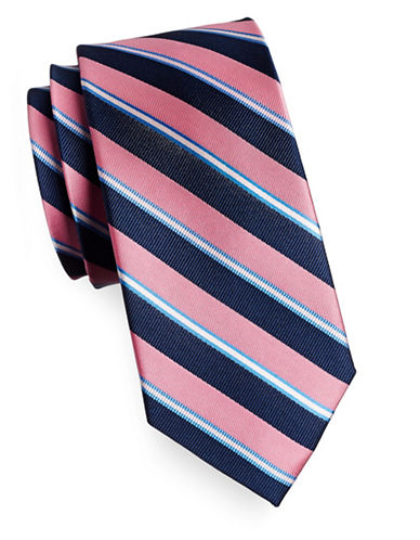 Izod Diagonal Stripe Silk Tie-PINK-One Size