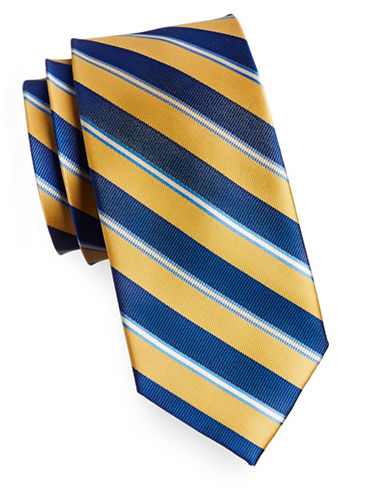 Izod Diagonal Stripe Silk Tie-YELLOW-One Size