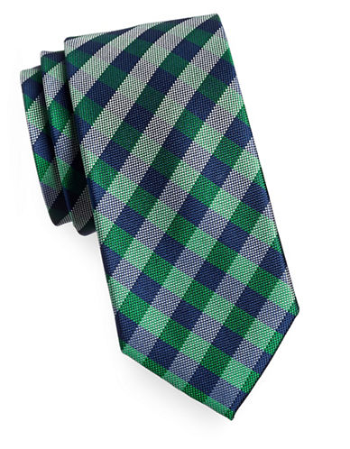 Izod Gingham Silk Tie-GREEN-One Size