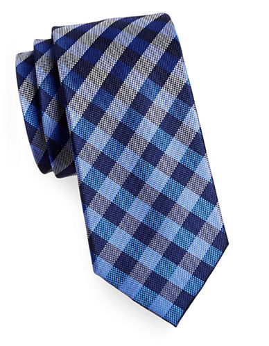 Izod Gingham Silk Tie-BLUE-One Size