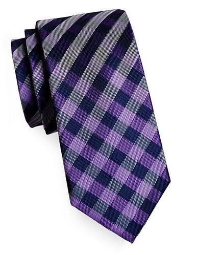 Izod Gingham Silk Tie-PURPLE-One Size