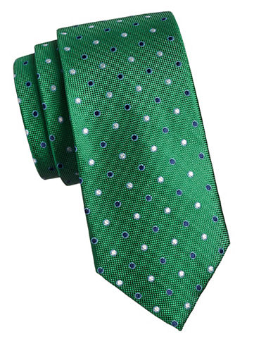 Izod Dotted Silk Tie-GREEN-One Size
